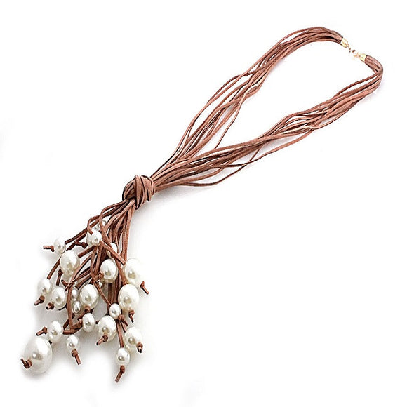 Pearl w/ suede cord necklace set - brown