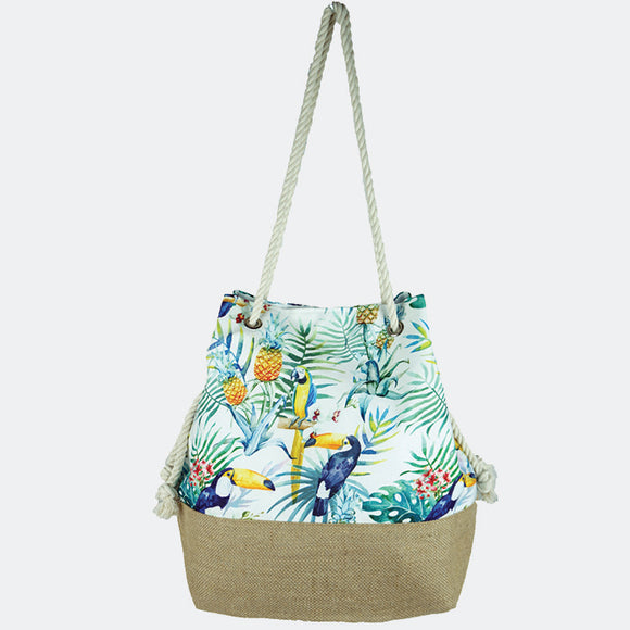 Tropical leaves & parrot bucket beach tote - green mint