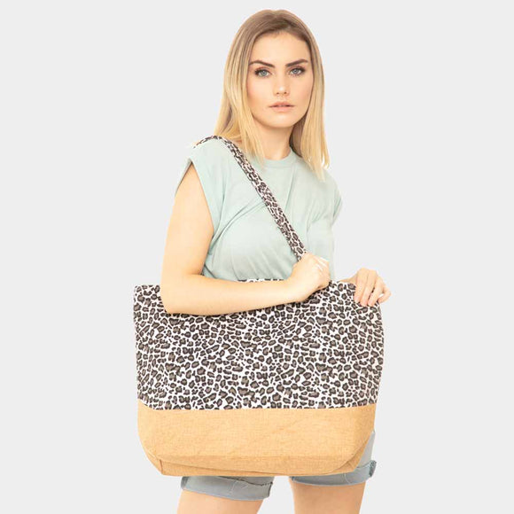 Colorblock leopard beach jute tote - black