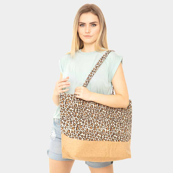 Colorblock leopard beach jute tote - brown