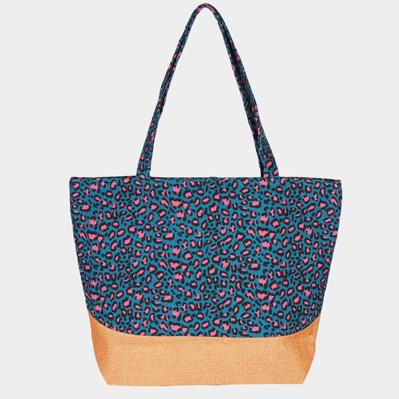 Colorblock leopard beach jute tote - teal