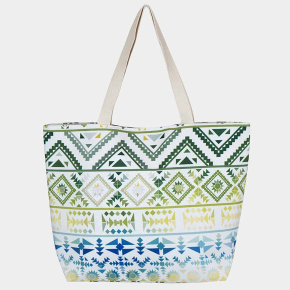 Colorful tribal beach tote - green navy
