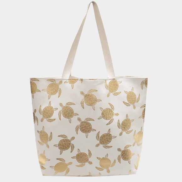 Metallic turtle beach tote - white