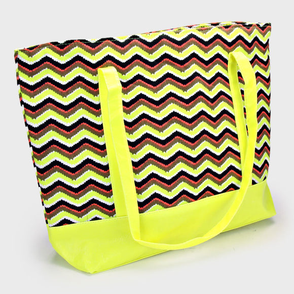 ZIgzag beach tote - yellow