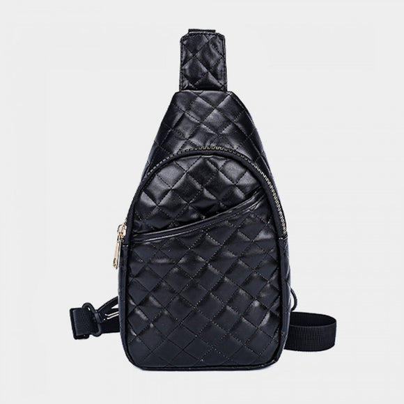 Quilted sling bag - black
