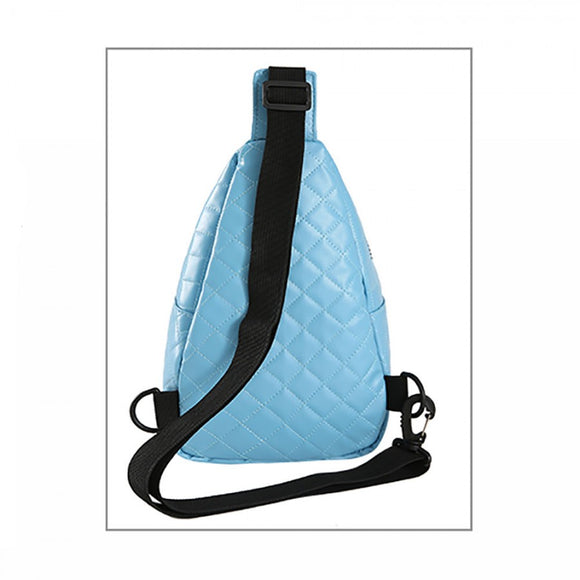 Quilted sling bag - blue