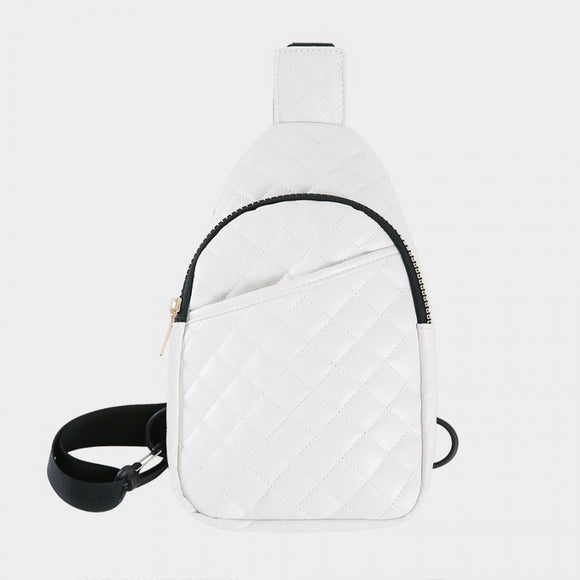 Quilted sling bag - white