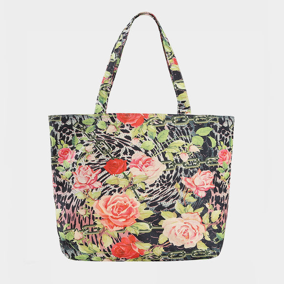 Rose print beach tote - black red