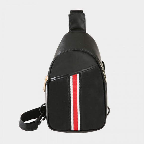 Stripe sling bag - black