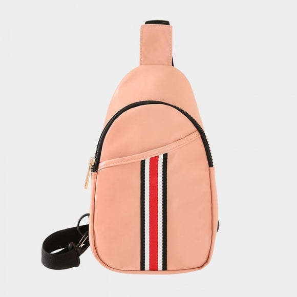 Stripe sling bag - pink