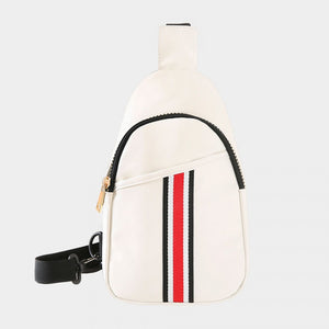 Stripe sling bag - white