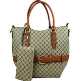 Belted monogram tote with wallet - brown
