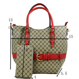 Belted monogram tote with wallet - red
