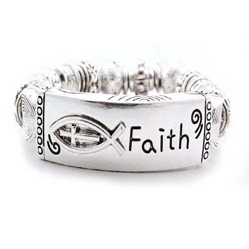 METALLIC BEAD BRACELET - FAITH