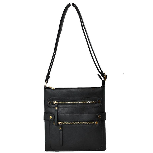 Double zip crossbody bag - black