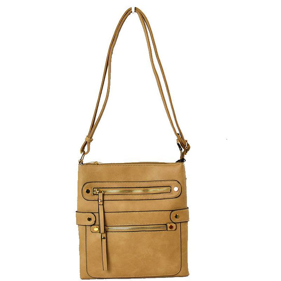 Top and bottom zip crossbody bag - taupe