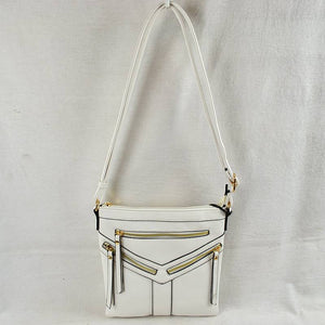 Front triple zip crossbody bag - white