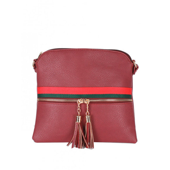Color stripe crossbody bag - wine
