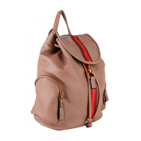 Stripe fashion backpack - brown