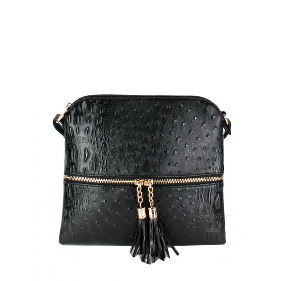 Crocodile embossed crossbody bag - black