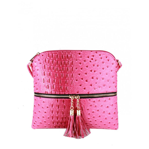 Crocodile embossed crossbody bag - fuschia