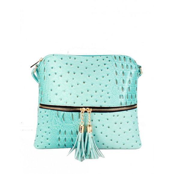 Crocodile embossed crossbody bag - light blue
