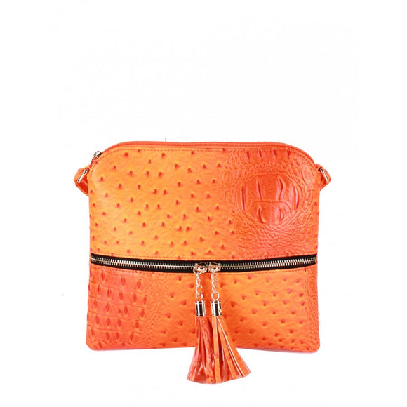 Crocodile embossed crossbody bag - orange