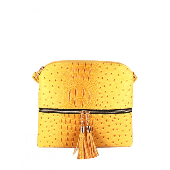 Crocodile embossed crossbody bag - yellow