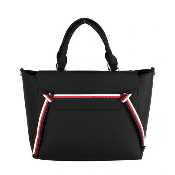 Stripe handbag set - black