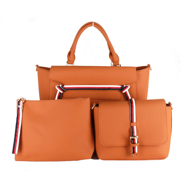 Stripe handbag set - light brown