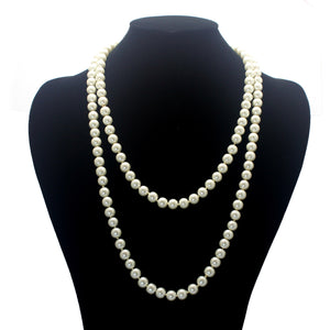 "60"" KNOTTED LONG PEARL NECKLACE ONLY"