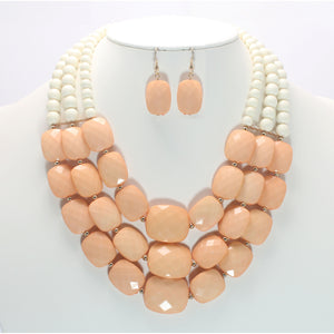 BEAD NECKLACE SET - Pink Vanilla
