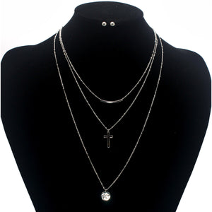 CROSS 3 ROW NECKLACE SET - Pink Vanilla