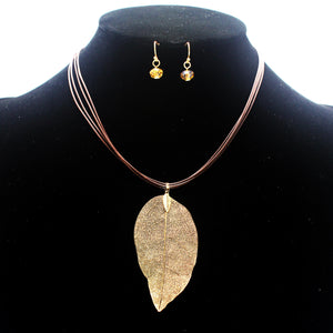 LEAF PENDANT NECKLACE SET