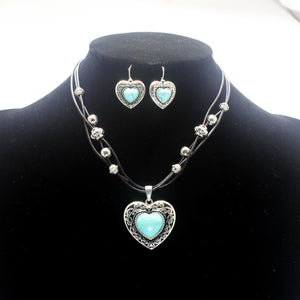 HEART & TURQUOISE NECKLACE SET - Pink Vanilla