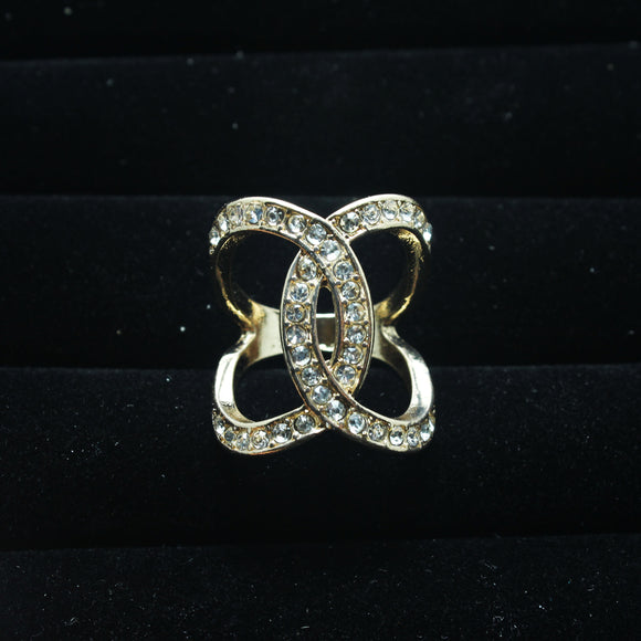 ONE SIZE CRYSTAL GOLD RING