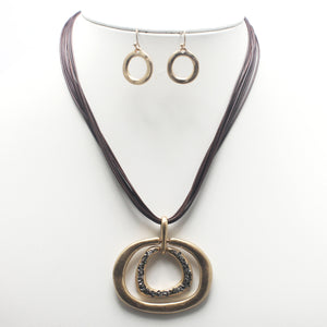 Multi hoop w/ pave necklace set - gold