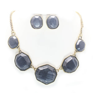 STUD STONE NECKLACE SET