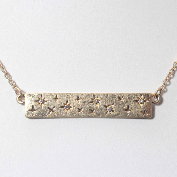 STAR ENGRAVED PENDANT NECKLACE