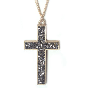 PAVE CROSS NECKLACE SET