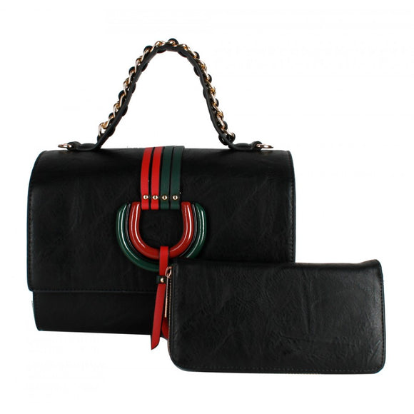 Color stripe satchel - black
