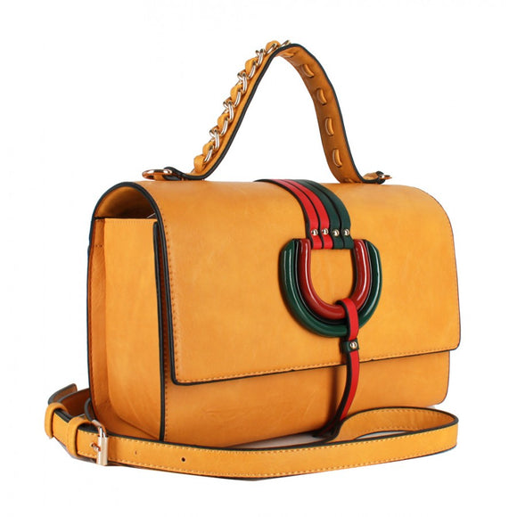 Color stripe satchel - light gold
