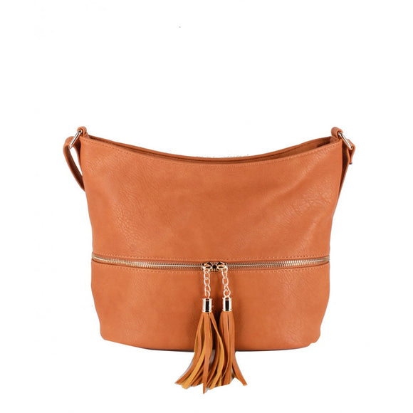 Tassel zipper crossbody bag - camel