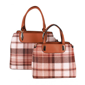 Chic plaid check satchel 2 in 1 set - brown