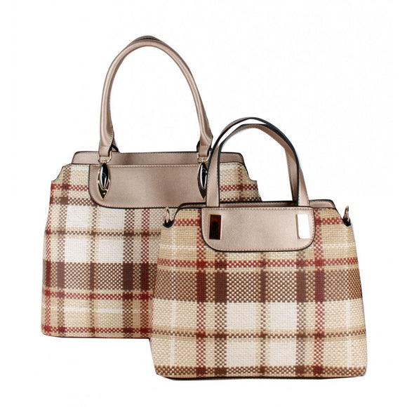 Chic plaid check satchel 2 in 1 set - gold
