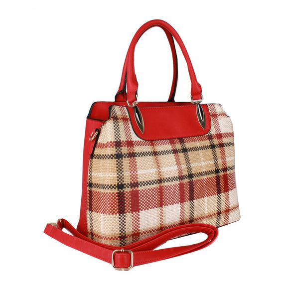 Chic plaid check satchel 2 in 1 set - red