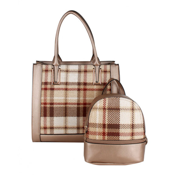 Plaid check tote and backpack - gold