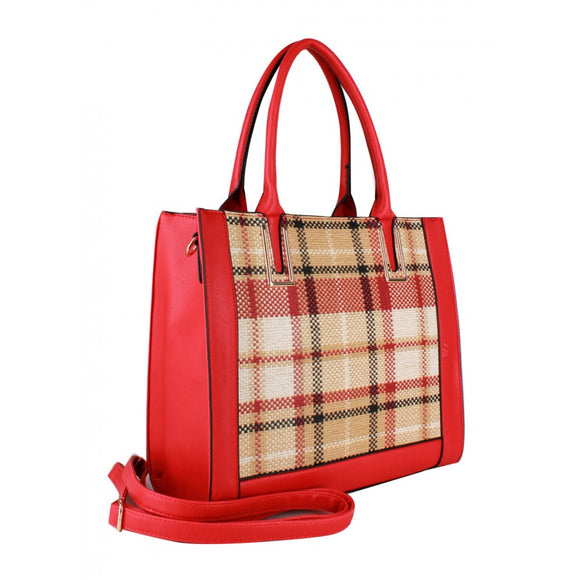 Plaid check tote and backpack - red