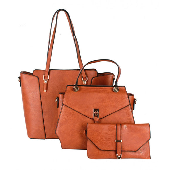 3 in 1 Tote, messenger and wallet - brown