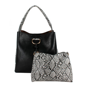 Snake pattern shoulder bag - black